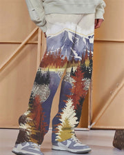 Scenery Print Loose Wide Leg Pants