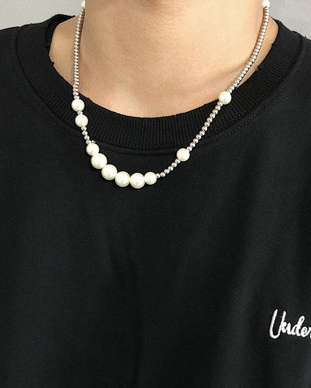 Pearl&Beaded Chain Metallic Necklaces