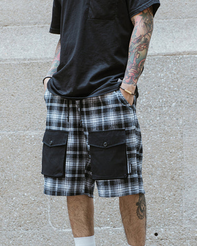 Plaid Patchwork Loose Carpenter Short Pants