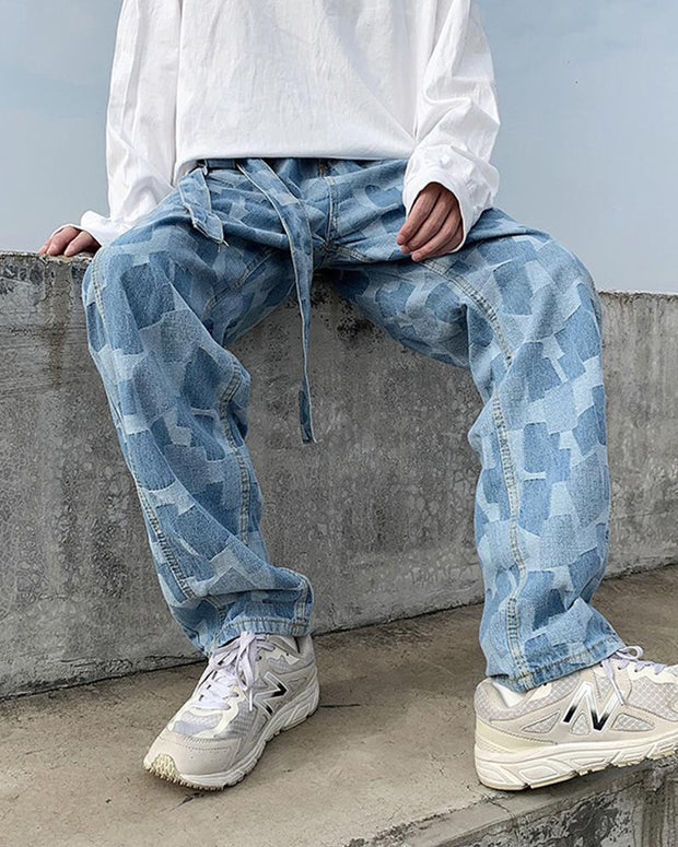 Colorpatch Loose Wide Leg Denim Pants