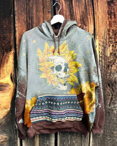 Tie Dye Skull Cartoon Print Long Sleeve Hooded Sweatshirt With Pockets