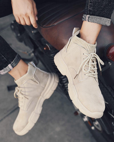 Solid Round-toe Lace-up High Top Sneakers