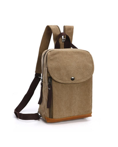 Solid Strap One Buckle Zipper Backpack