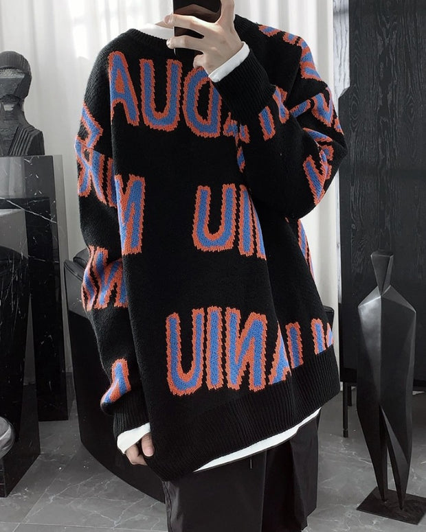 Letter Jacquard Long Sleeve Loose Sweater
