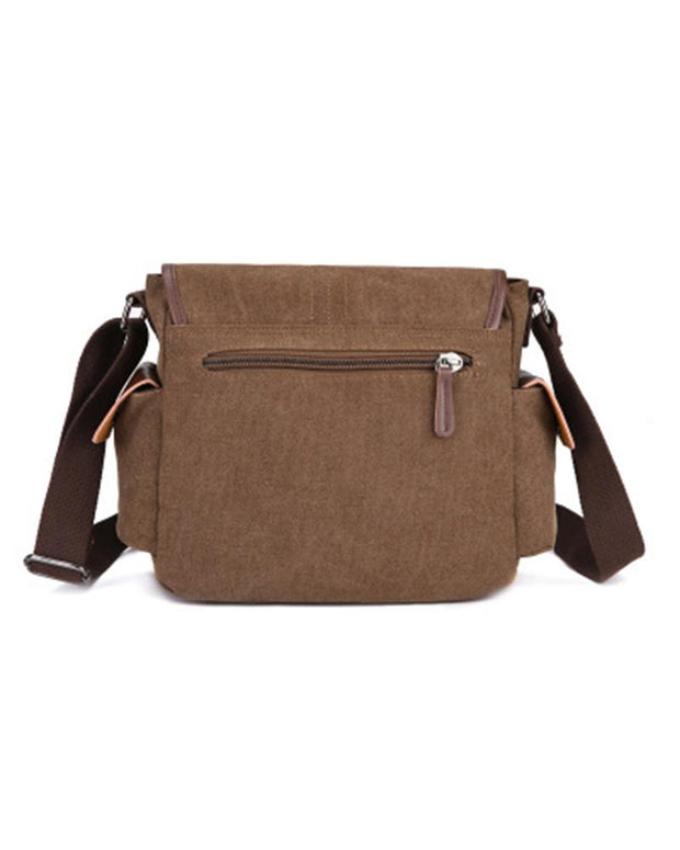 Solid PU Border Buckle Closure Flap Shoulder Bag