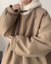Solid Long Sleeve Faux Fur Patchwork Zip-up Coats