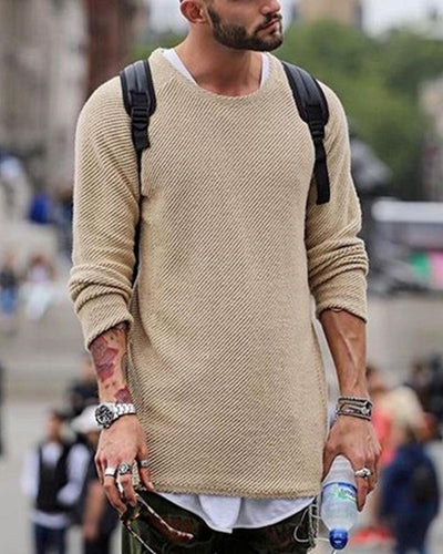 Solid Knitted Long Sleeve Sweaters