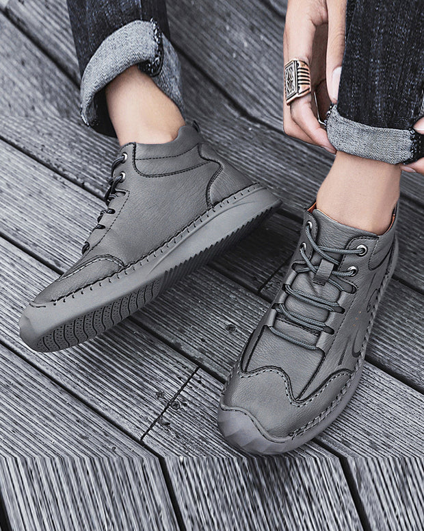 Leather Stitching Lace-up Boots
