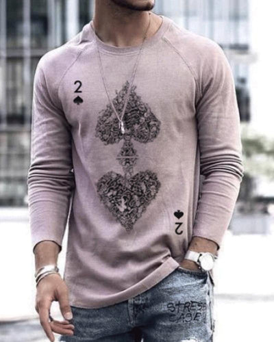 Poker Print Long Sleeve T-shirts