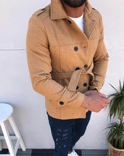 Solid Double-breasted Long Sleeve Duffle Coats