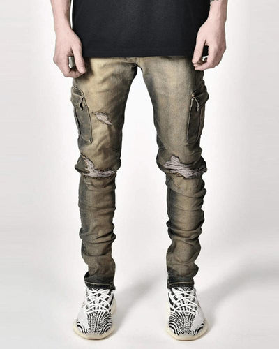 Solid Color Pencil Ripped Jean Pants