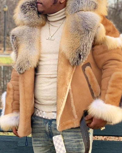 Colorblock Long Sleeve Fur Coats