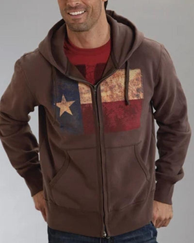 National Style Printing Long Sleeve Hooded Coat