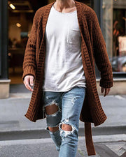 Solid Long Sleeve Loose Knitted Cardigans