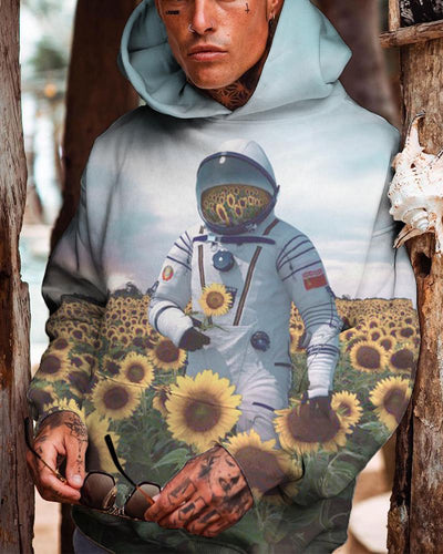 Sunflower and Astronaut Print Long Sleeve Hoodie Sweatshirt