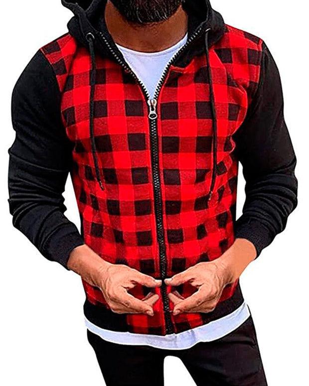 Casual Plaid Color Block Hooded Coats