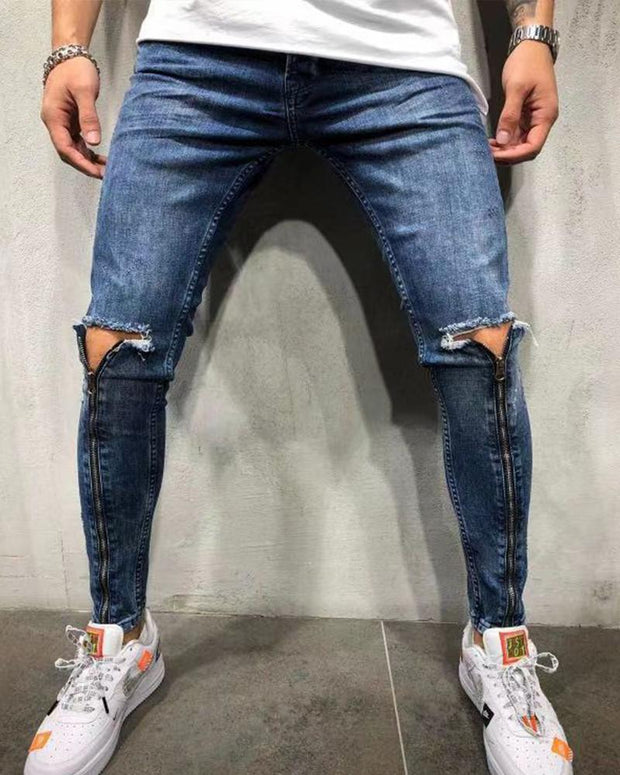 Knee Ripped Zipper Jeans