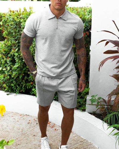 Solid Round Neck T-shirt Pants Sets