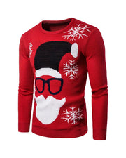 Christmas Cartoon Jacquard Long Sleeve Knitted Sweater