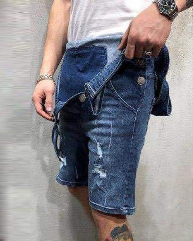 Ripped Denim Shorts With Suspender