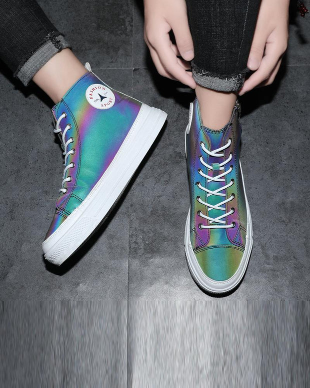 Lace-up Round-toe Multicolor Sneakers