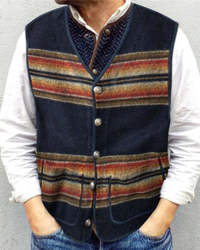 Colorblock Sleeveless Button-down Vest Coats