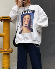 Figure And Letter Print Long Sleeve T-shirt