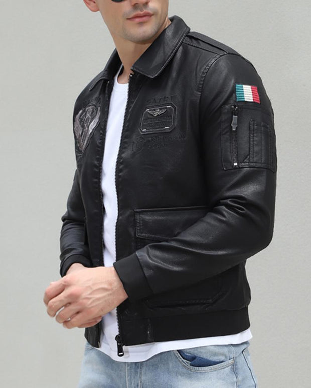 Logo Embroidery Solid Color Long Sleeve Leather Jacket