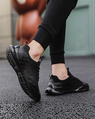 Solid Lace Closure Breathable Mesh Upper Sneakers
