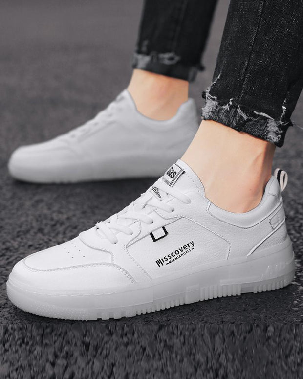 Letter Printing Lace-up Round-toe Sneakers