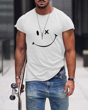 Smile Face Print Short Sleeve T-shirts
