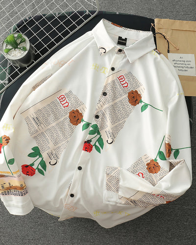 Floral Letter Print Long Sleeve Button-up Shirts