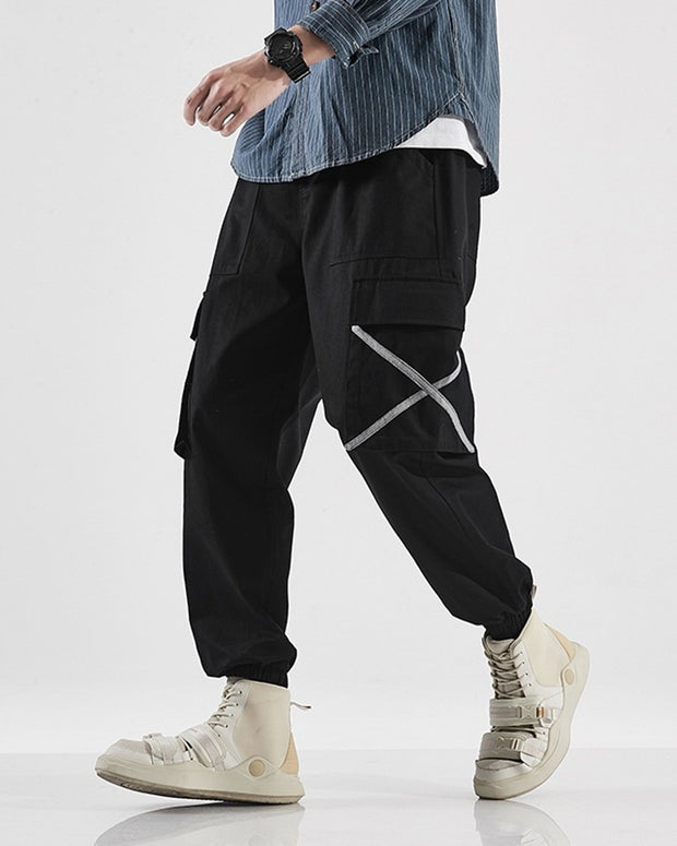 INS Style Striped Side Long Loose Cargo Pants