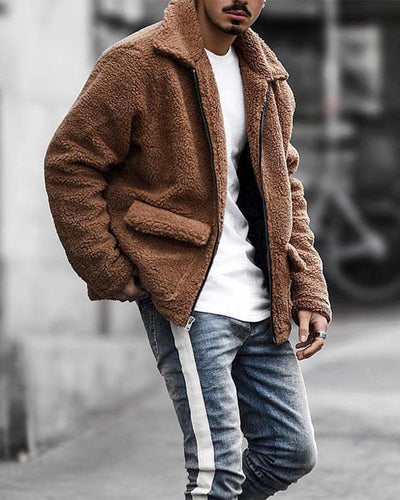 Solid Color Long Sleeve Coat With Pocket