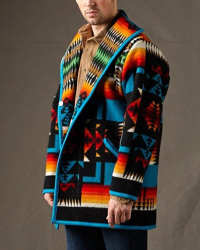 Geometry Printing Long Sleeve Coat