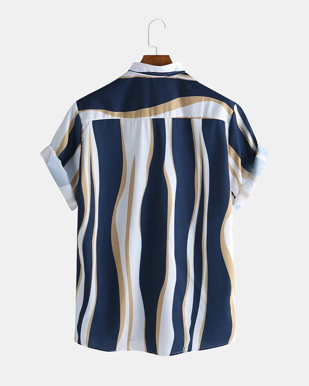 Striped Print Short Sleeve Loose Button-up Shirts