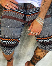 Ethnic Print Casual Shorts