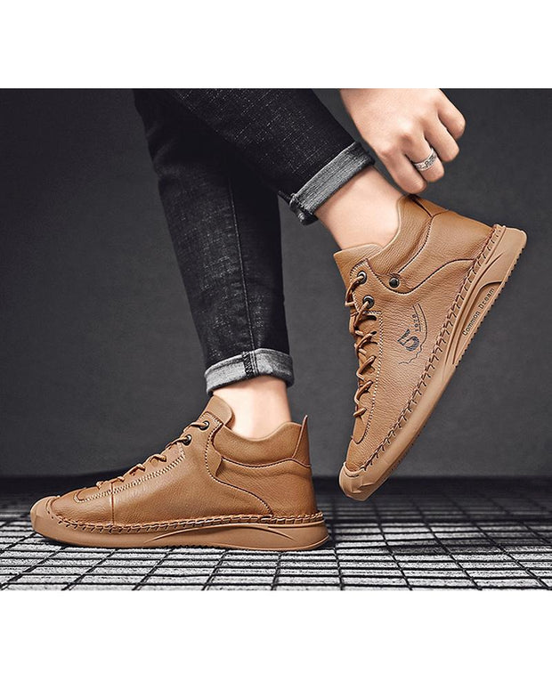 Solid Round-toe Lace-up Boots