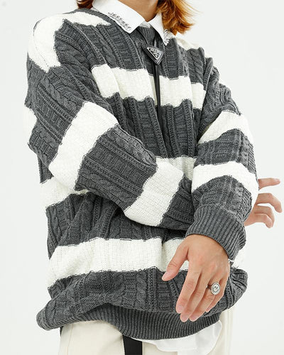 Striped Colorblock Round Neck Sweater