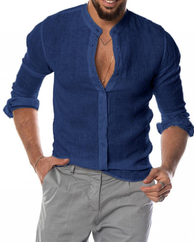 Casual Flax Solid Color Shirt