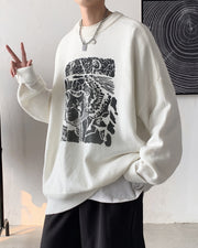 Abstract Patterns Print Long Sleeve Loose Sweaters