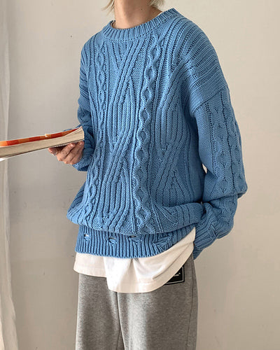 Solid Color Cable-knitting Long Sleeve Sweater
