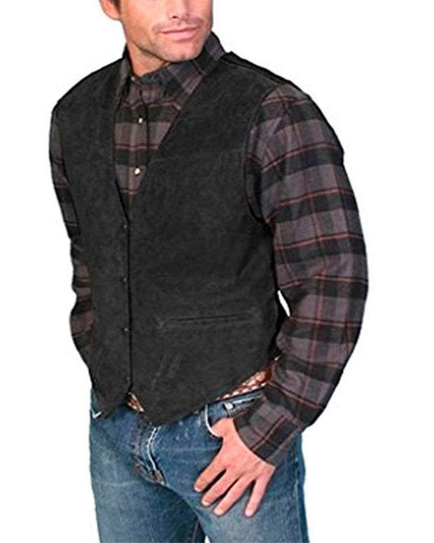 Solid Color Single-breasted Sleeveless Vest