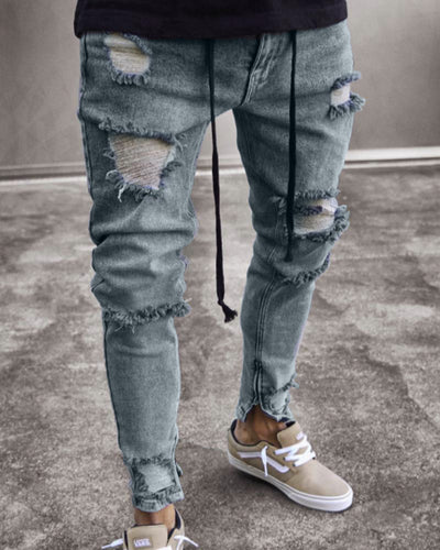 Stylish Ripped Slim Hole Jeans