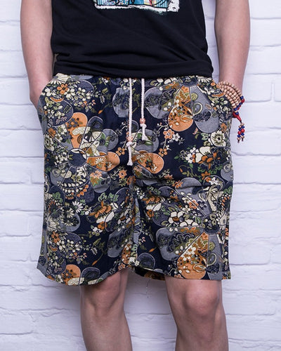 Paisley Print Loose Drawstring Short Pants