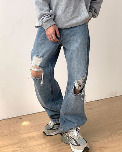 Solid Ripped Washing Effect Denim Wide Leg Pants Jeans