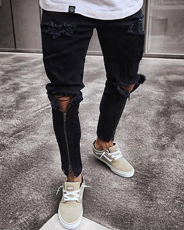 Fashionable Washing Slim Hole Jeans