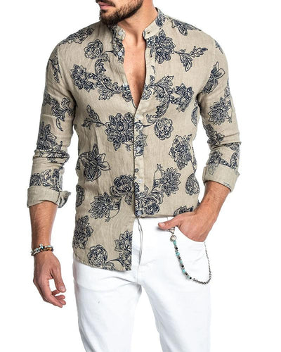 Print Button Long Sleeve Shirt