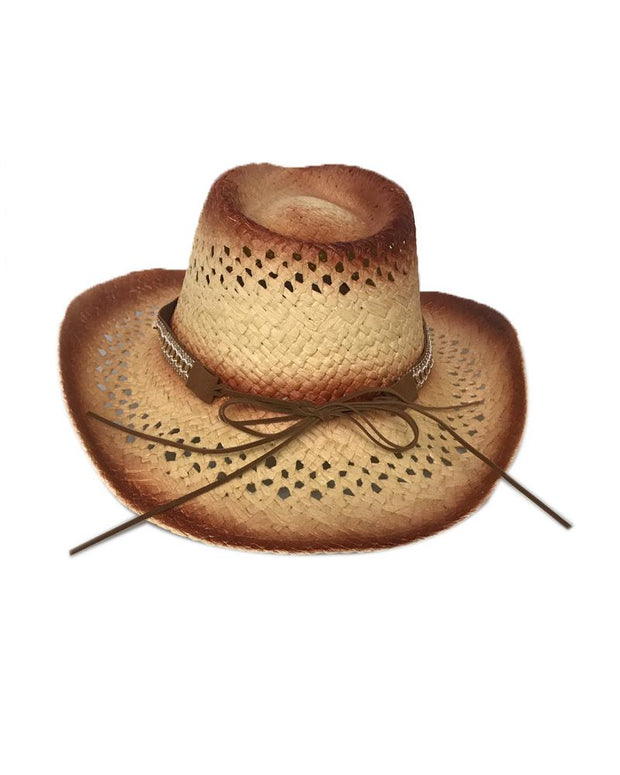 Vintage Style Lace-up Western Cowboy Straw Hats