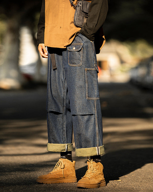Solid Loose Wide Leg Denim Pants